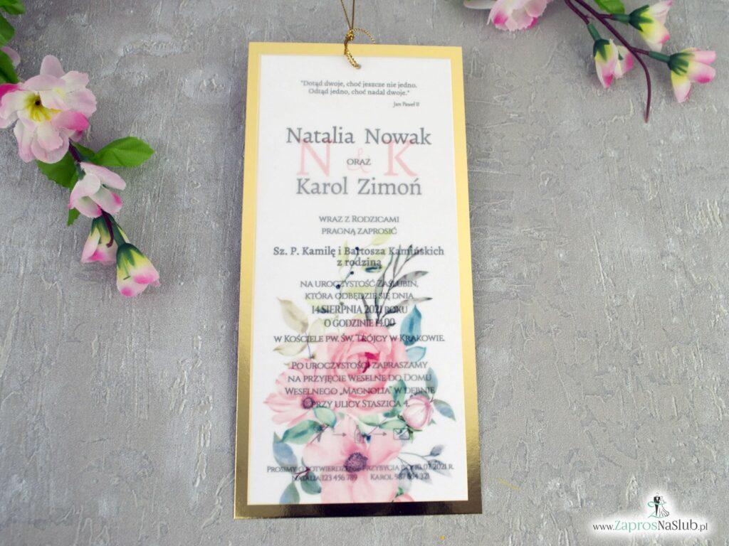 Modne zaproszenia kwiatowe z kalką i złotym papierem przewiązane złotym sznurkiem ZAP-138-2