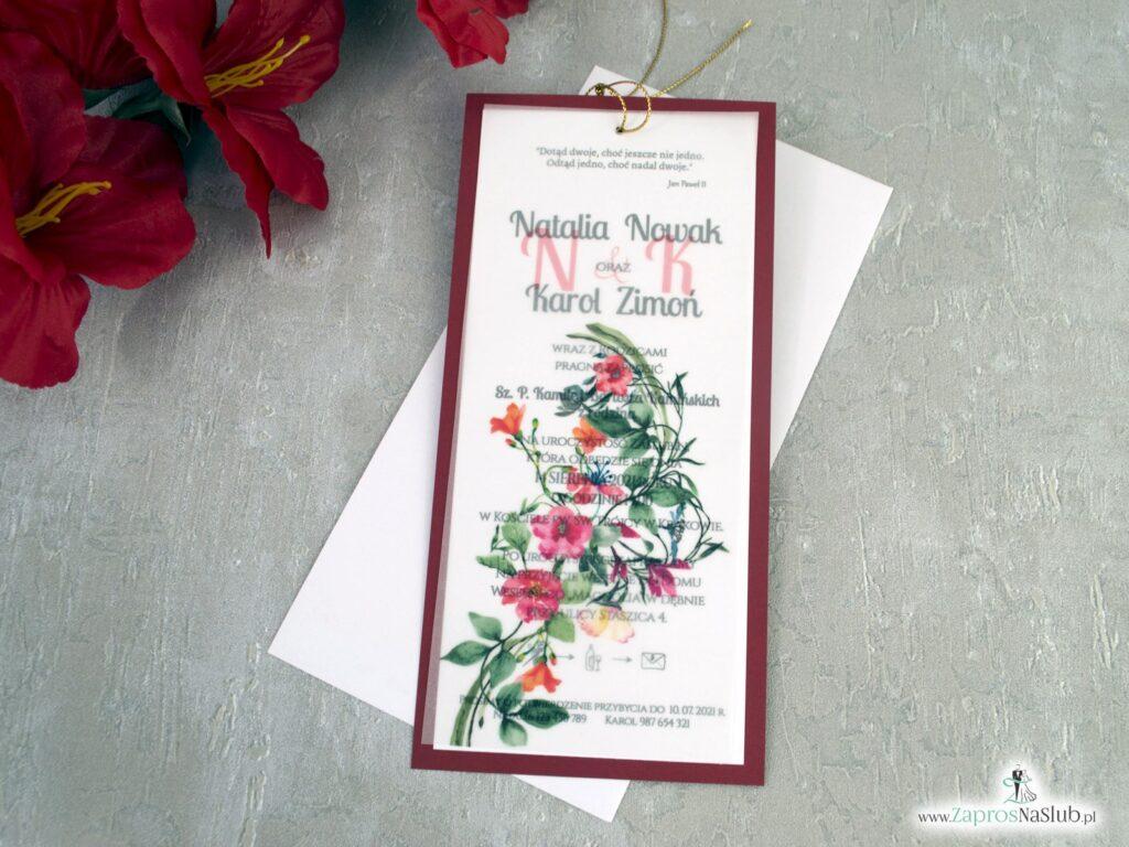 Modne zaproszenia na ślub z kalką i czerwonymi kwiatami na bordowym papierze ZAP-138-3