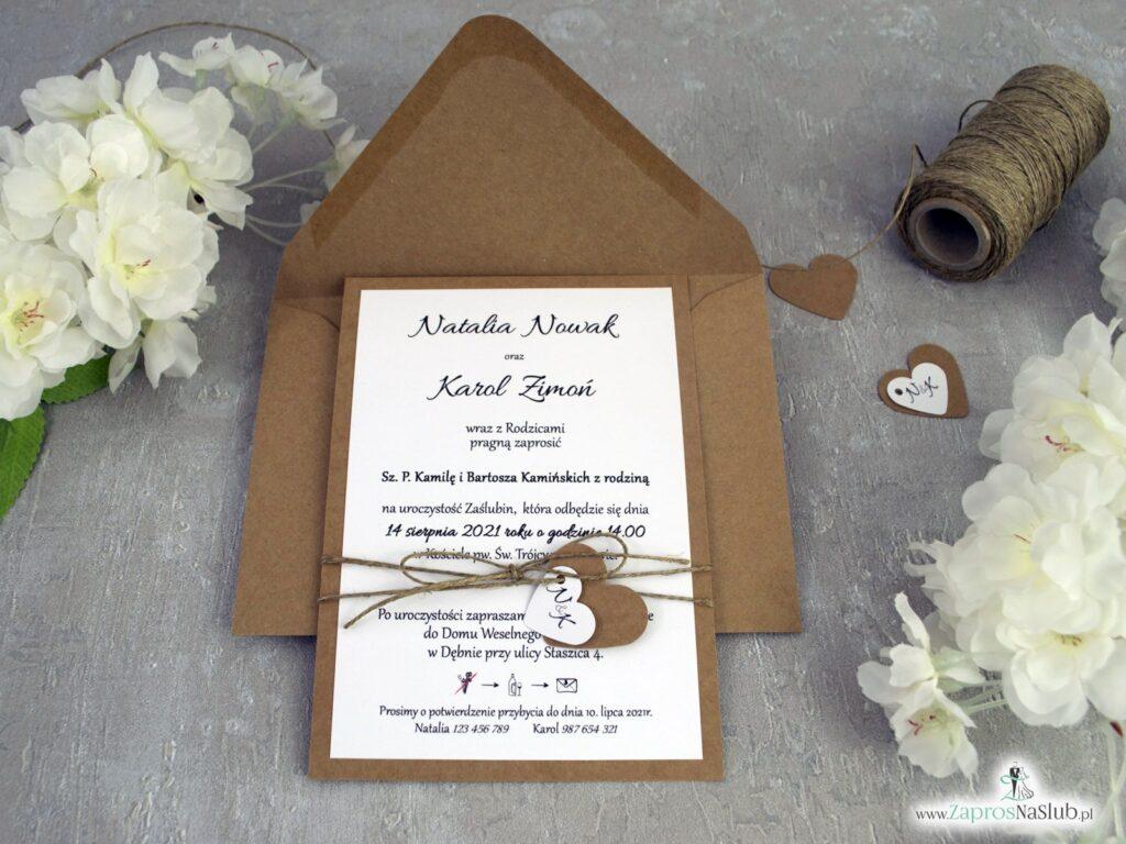 Modne zaproszenia ślubne na papierze ekologicznym przewiązane sznurkiem jutowym ZAP-137