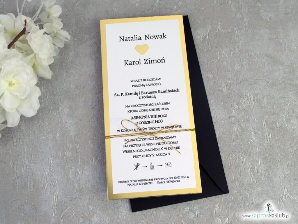 Modne zaproszenia ślubne na złotym papierze z efektem lustra, przewiązane sznurkiem ZAP-139