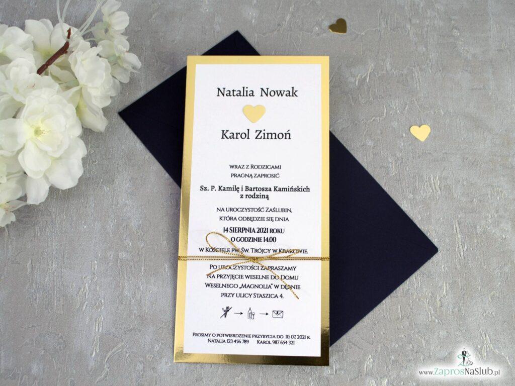 Modne zaproszenia ślubne z efektem lustra na złotym papierze ZAP-139