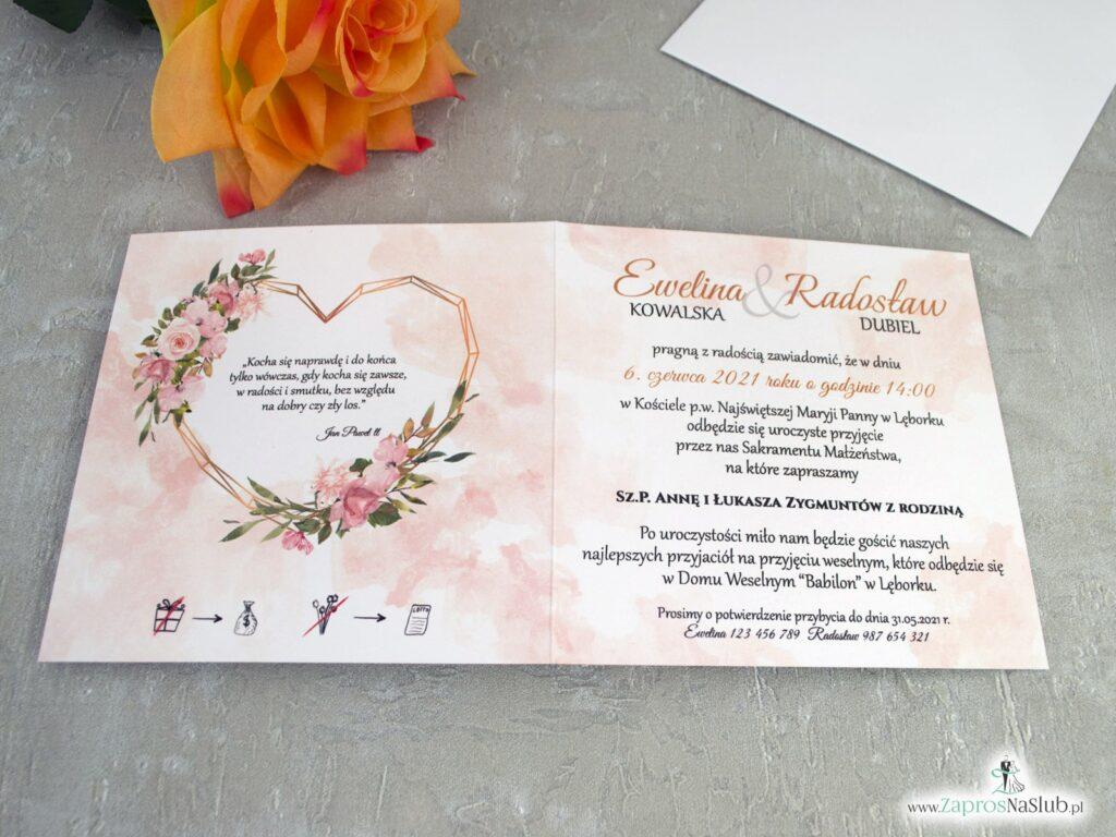 Modne zaproszenia ślubne z geometrycznym sercem i kwiatami w kolorze herbacianym ZAP-41-10