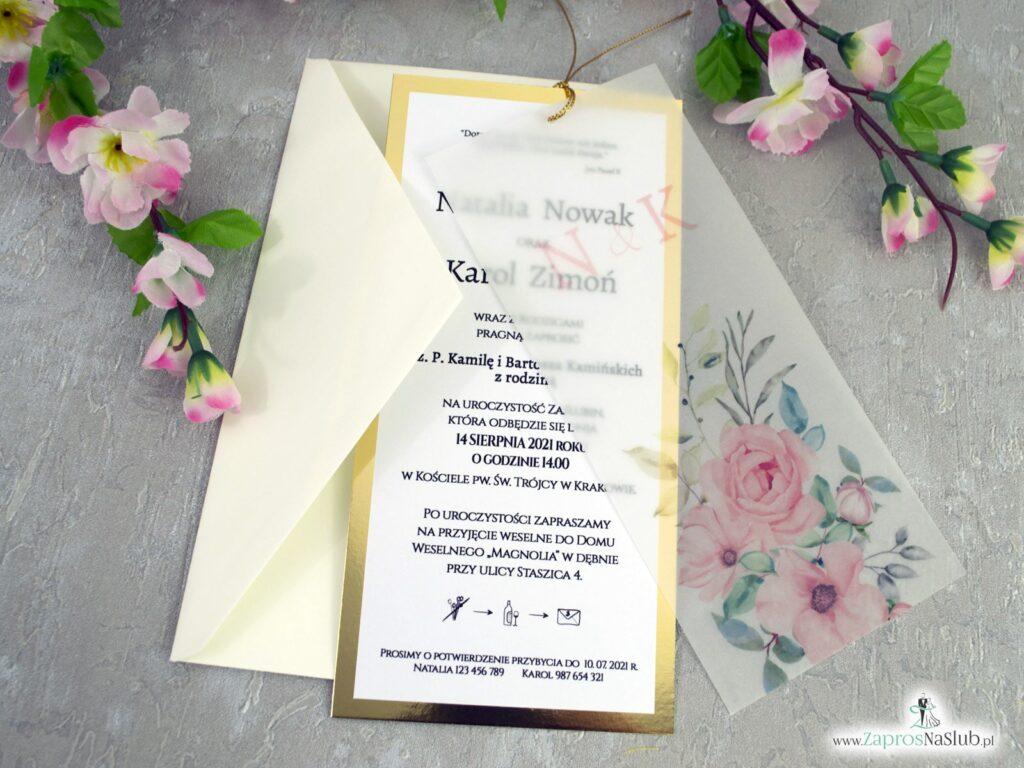 Modne zaproszenia ślubne z kalką i różowymi kwiatami ZAP-138-2