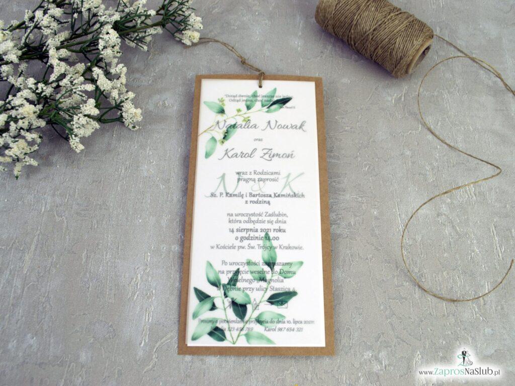 Modne zaproszenia ślubne z kalką i zielonymi listkami na papierze eko ZAP-138-1