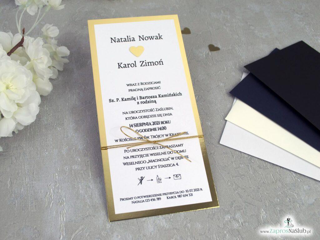 Modne zaproszenia ślubne, złoty papier lustro i złoty sznurek ZAP-139