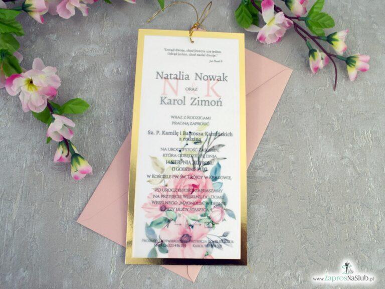 Modne zaproszenia ślubne złoty papier z efektem lustra i kalka z kwiatami ZAP-138-2
