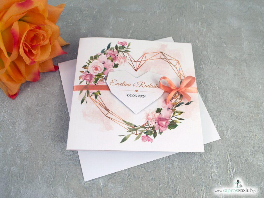Modne zaproszenia ślubne z geometrycznym sercem i herbacianymi kwiatami ZAP-41-10