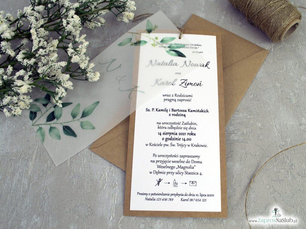 Rustykalne zaproszenia ślubne na papierze eko z zielonymi listkami i kalką ZAP-138-1