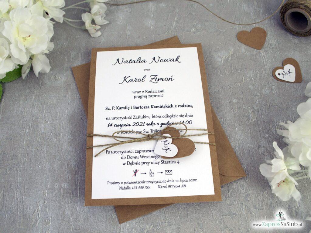 Rustykalne zaproszenia ślubne na papierze ze sznurkiem jutowym ZAP-137