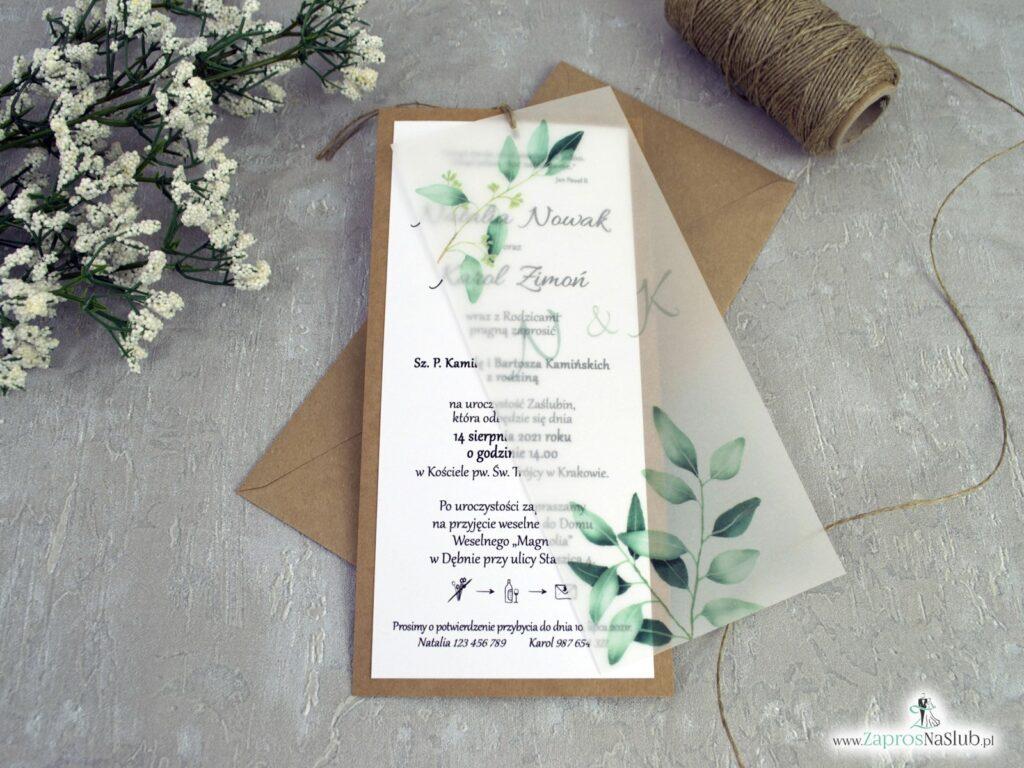 Rustykalne zaproszenia ślubne z kalką i zielonymi liśćmi na papierze eko ZAP-138-1