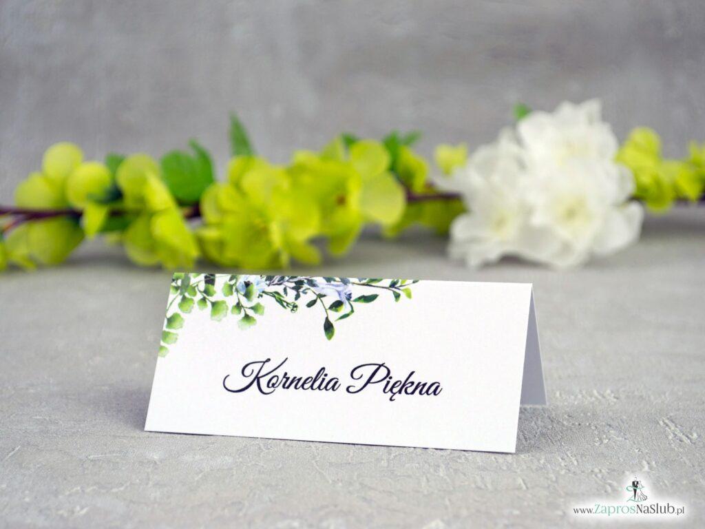 Winietki na stół boho, zielone listki WIN-41-26