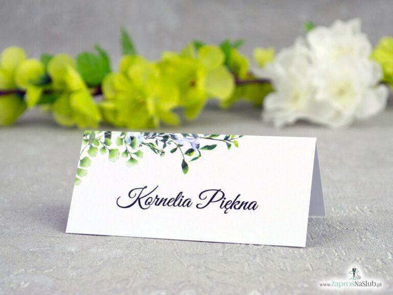 Winietki na stół z zielonymi listkami w stylu boho WIN-41-26