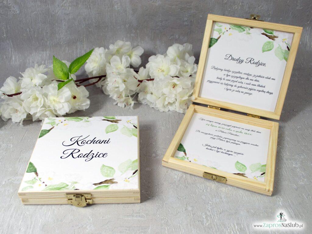 Zaproszenia dla rodziców drewniane z kwiatami wiśni POB-76-19