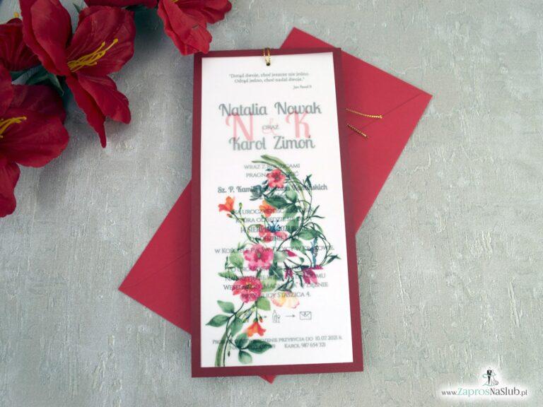 Zaproszenia na ślub czerwonymi kwiatami na kalce i bordowym papierem ZAP-138-3