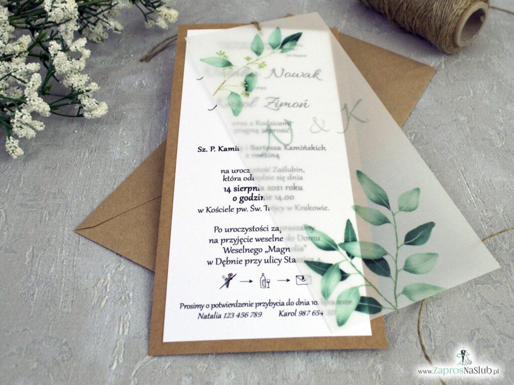 Zaproszenia na ślub eko z kalką i zielonymi listkami ZAP-138-1