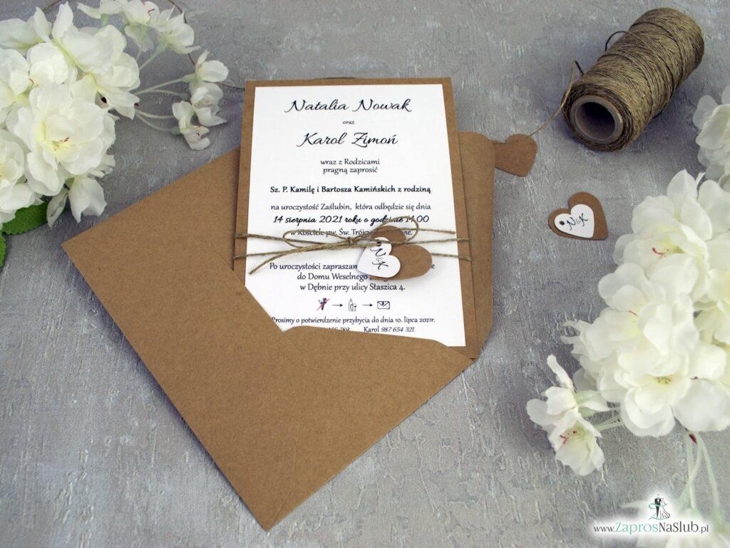 Zaproszenia na ślub eko z kopertą i sznurkiem jutowym ZAP-13
