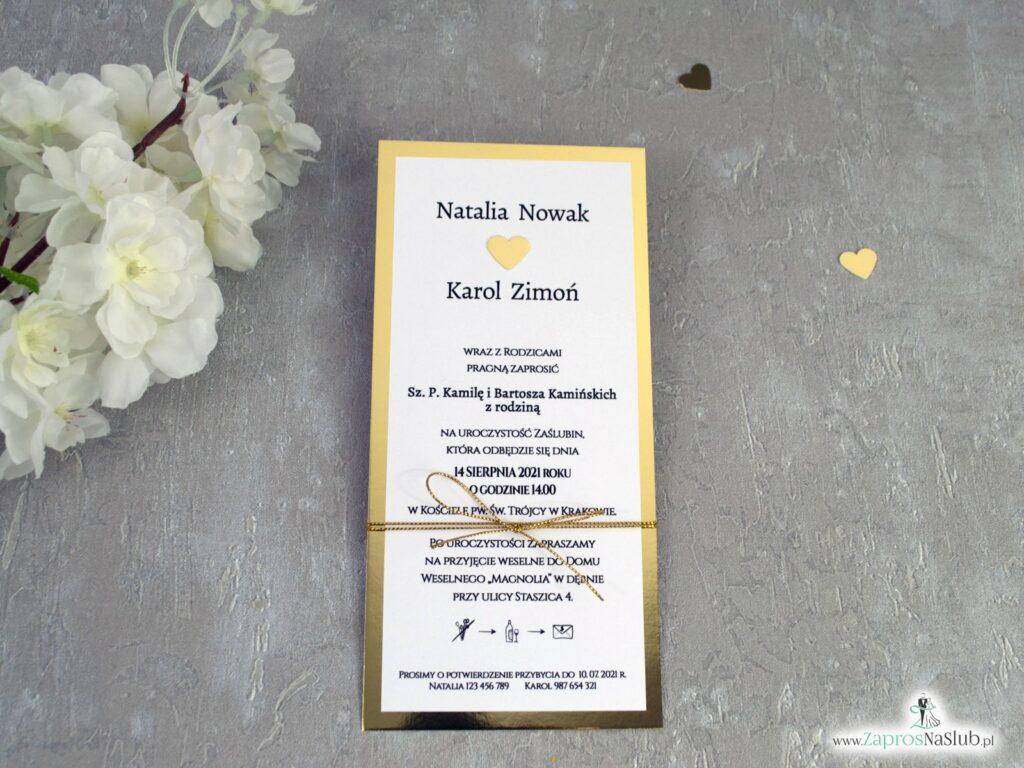 Zaproszenia na ślub na złotym papierze z efektem lustra ZAP-139