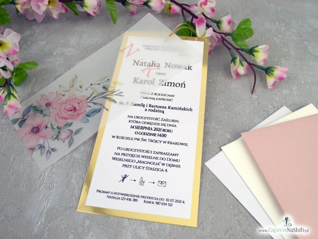Zaproszenia na ślub z kalką i kwiatami ZAP-138-2