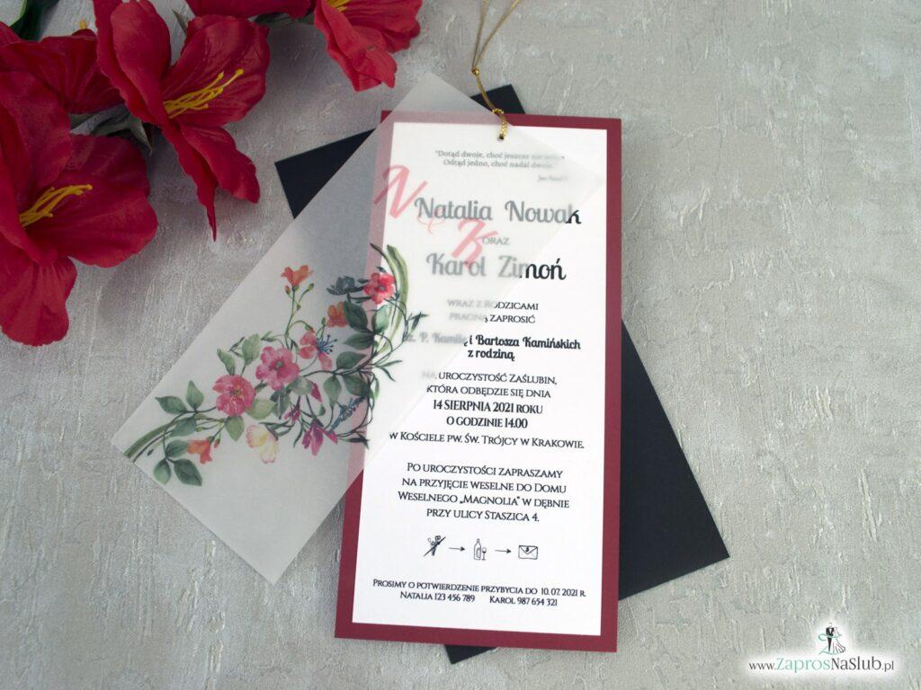 Zaproszenia na ślub z kalką i kwiatami na bordowym papierze ZAP-138-3