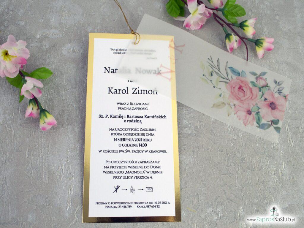 Zaproszenia na ślub z kalką i różowymi kwiatami ZAP-138-2