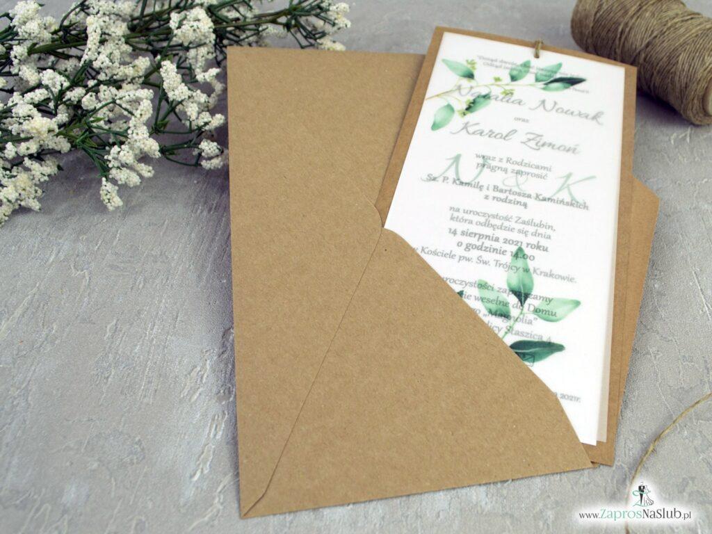 Zaproszenia na ślub z kalką na papierze eko, zielone listki ZAP-138-1
