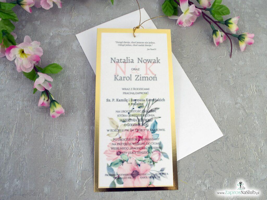 Zaproszenia na ślub z kalką na złotym papierze z efektem lustra ZAP-138-2