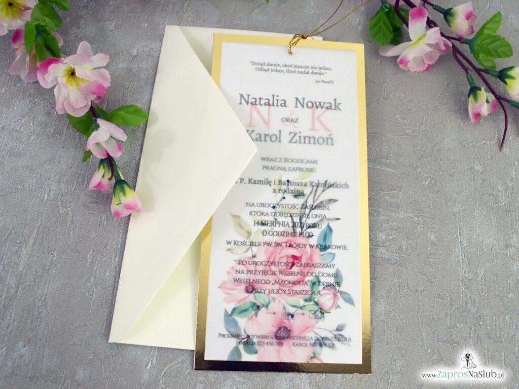 Zaproszenia na ślub z kwiatami i złotym papierem z efektem lustra ZAP-138-2