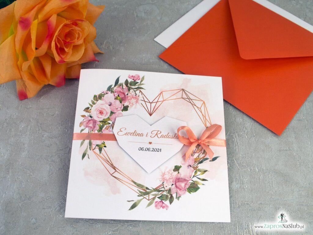 Zaproszenia na ślub z pomarańczowymi kwiatami ZAP-41-10