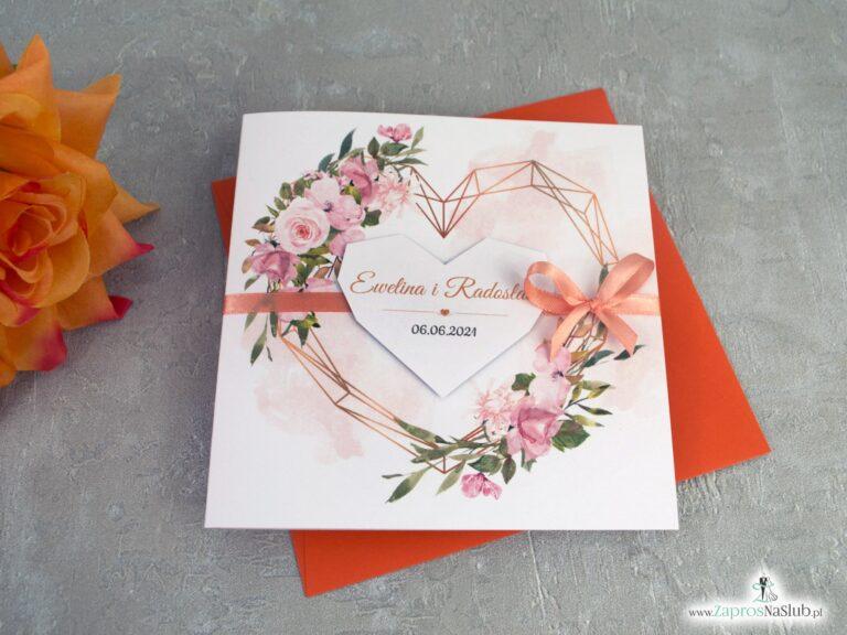 Zaproszenia na ślub z pomarańczowymi kwiatami i geometrycznym złotym sercem ZAP-41-10
