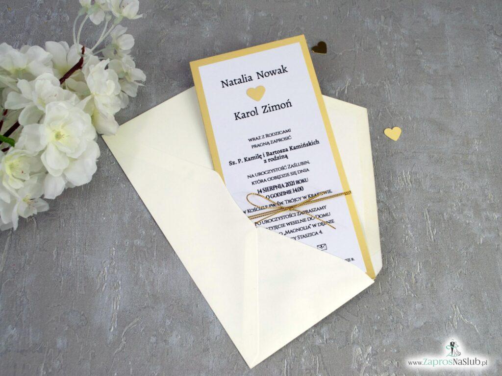 Zaproszenia na ślub złote, eleganckie, złote serce ZAP-139