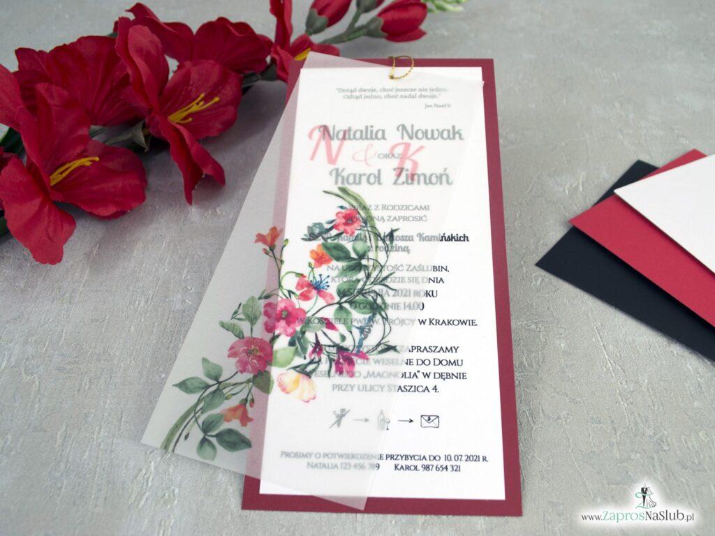 Zaproszenia ślubne bordowe z kalką i kwiatami ZAP-138-3