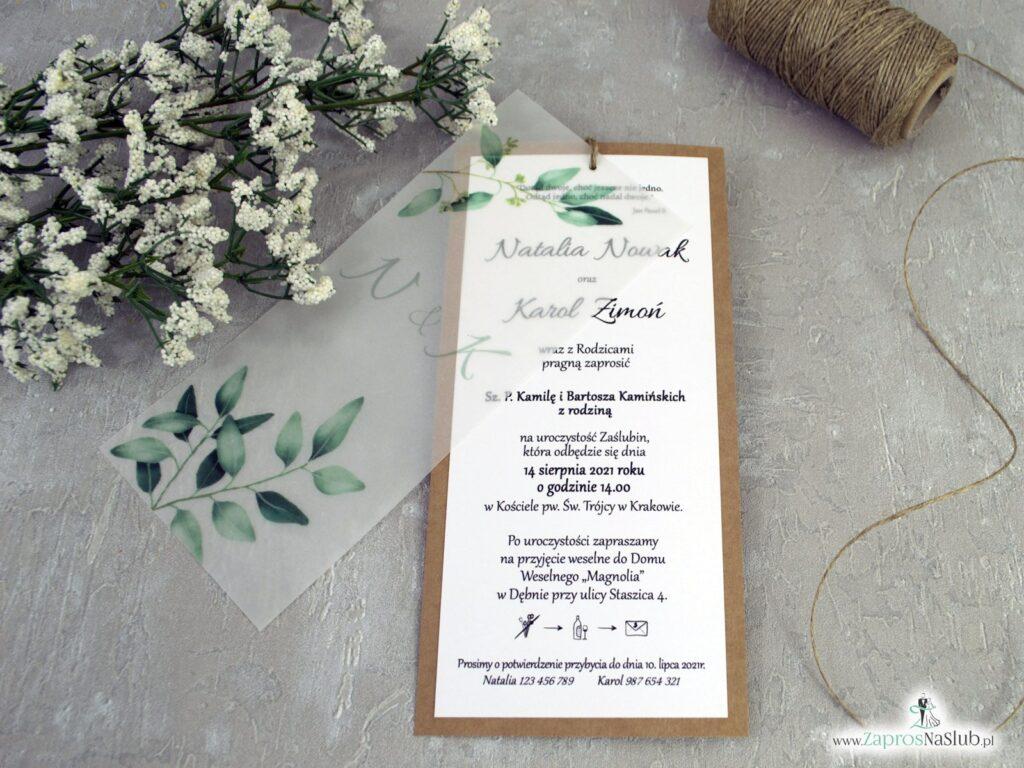 Zaproszenia ślubne eko z kalką i zielonymi listkami ZAP-138-1