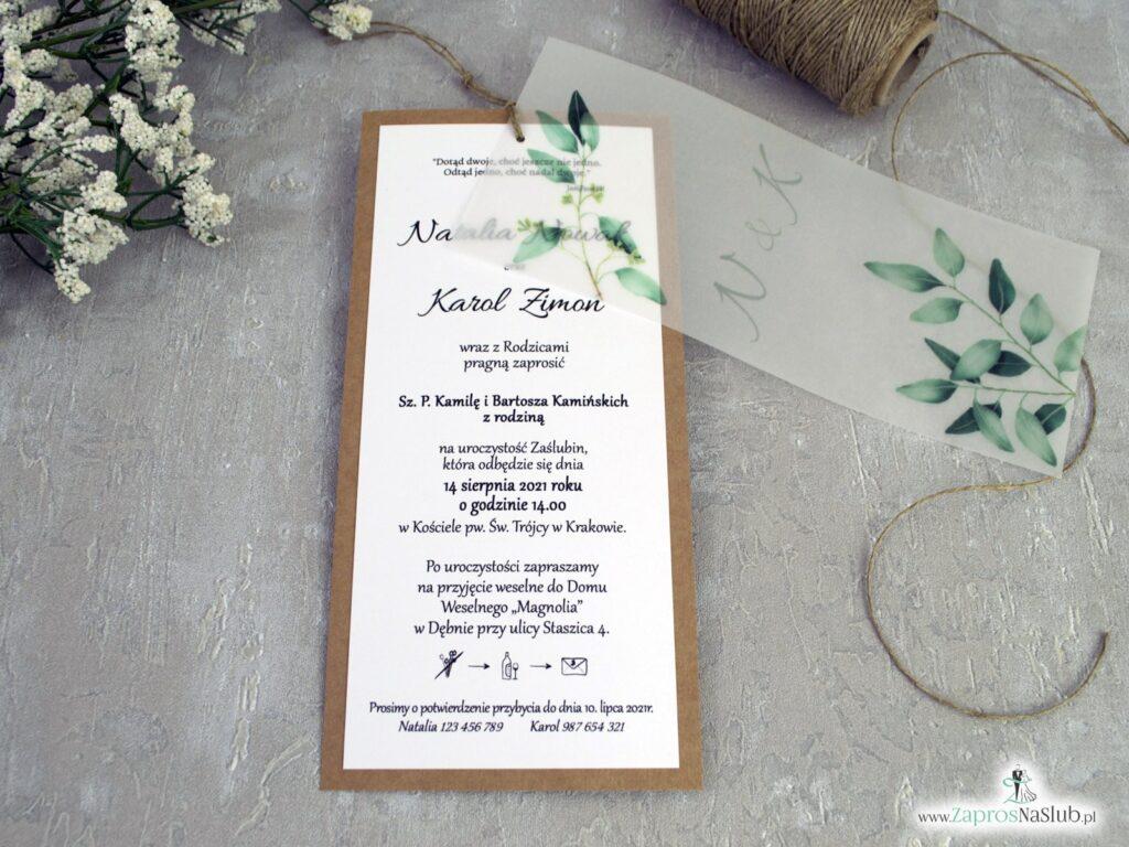 Zaproszenia ślubne eko z zielonymi liśćmi i kalką ZAP-138-1