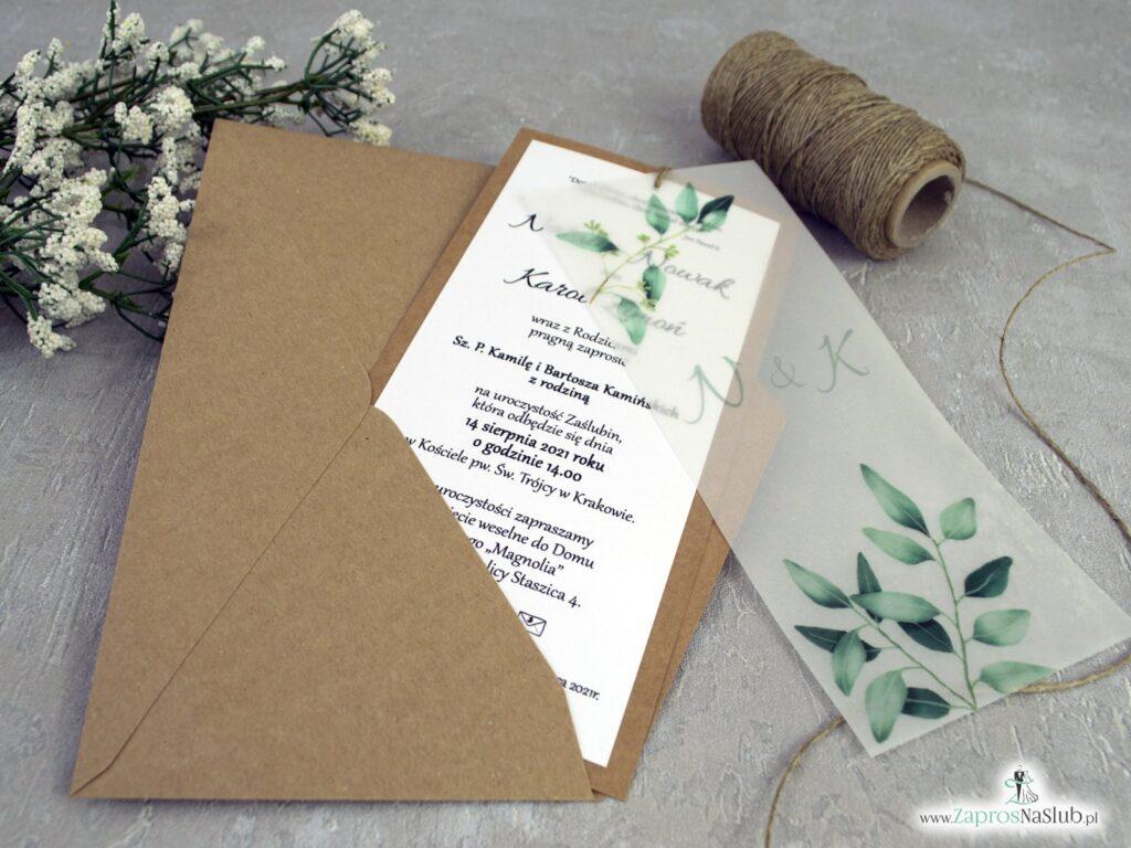 Zaproszenia ślubne ekologiczne z kalką i listkami ZAP-138-1
