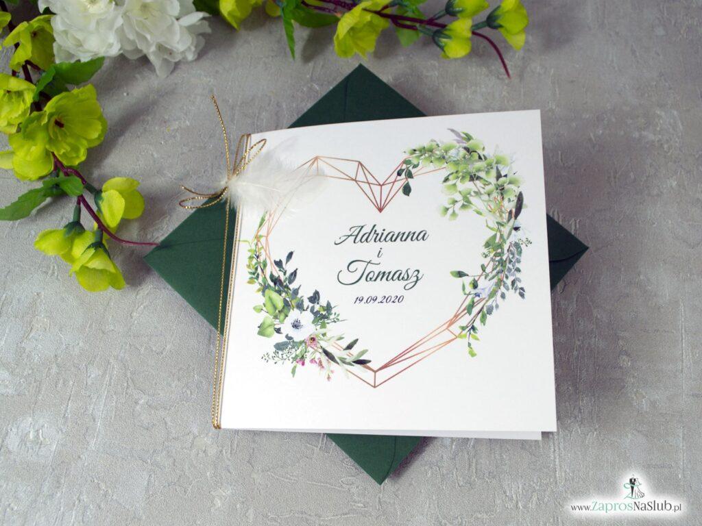 Zaproszenia ślubne geometryczne z piórkiem ZAP-41-26