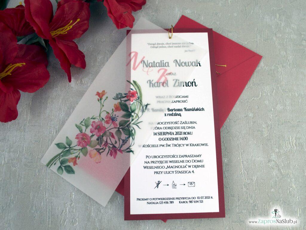 Zaproszenia ślubne z czerwonymi kwiatami na kalce ZAP-138-3