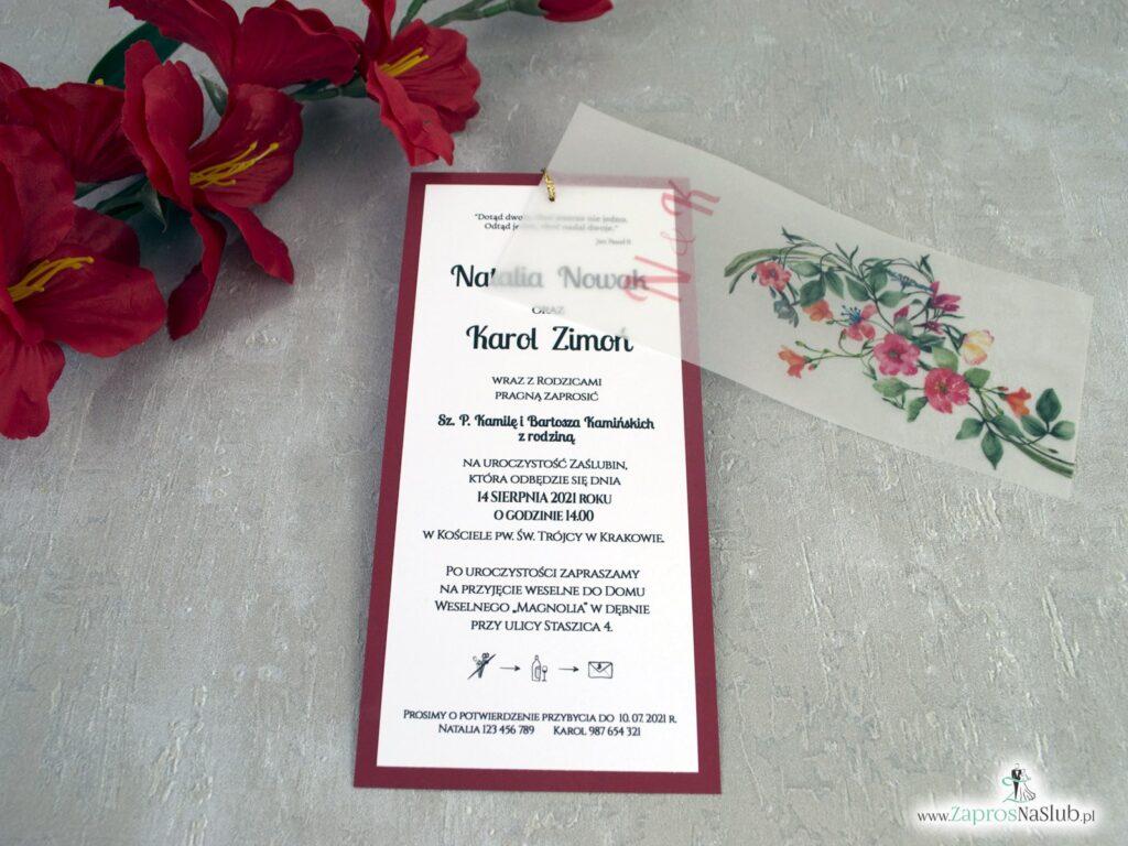Zaproszenia ślubne z kalką i czerwonymi kwiatami ZAP-138-3
