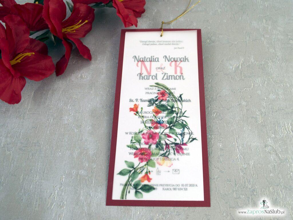 Zaproszenia ślubne z kalką i czerwonymi kwiatami na bordowym papierze ZAP-183-3