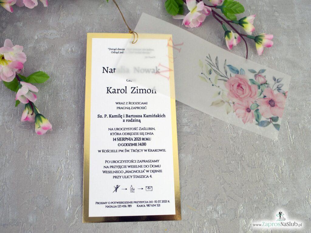 Zaproszenia ślubne z kalką i różowymi kwiatami na złotym papierze z efektem lustra ZAP-138-2