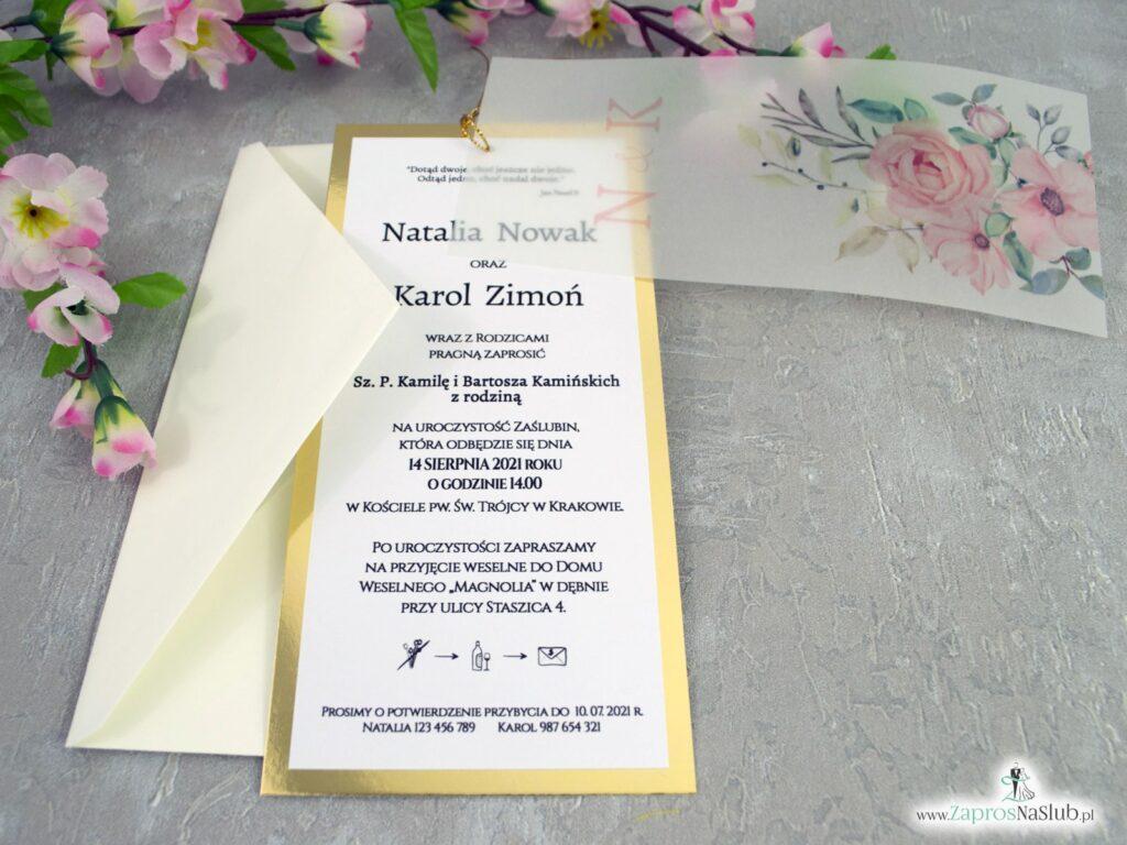 Zaproszenia ślubne z kalką na złotym papierze z efektem lustra i różowymi kwiatami ZAP-138-2