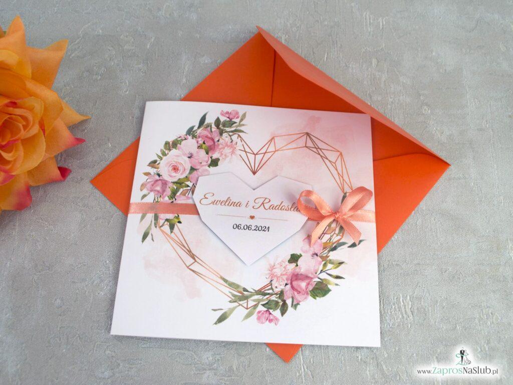 Zaproszenia ślubne ze złotym sercem, geometrycznym oraz kwiatami w kolorze herbacianym ZAP-41-10