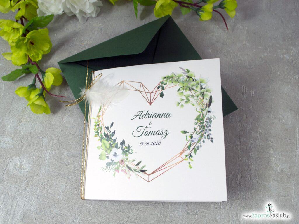 Zaproszenia ślubne zielone boho rustykalne ZAP-41-26