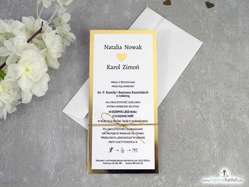 Zaproszenia ślubne złote lustro ZAP-139
