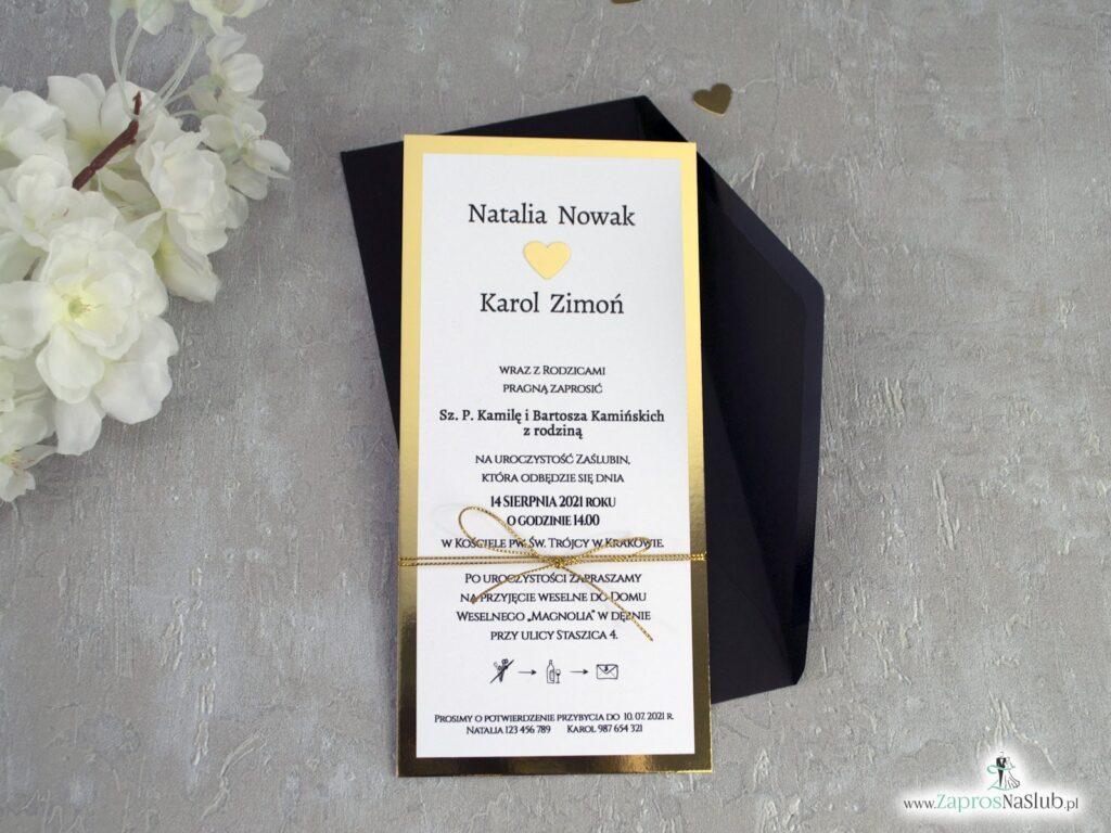 Zaproszenia ślubne złote z efektem lustra ZAP-139