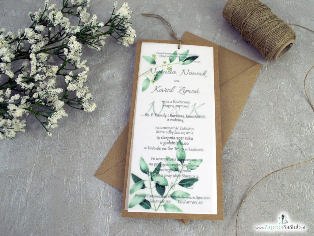 Zaproszenie na ślub z kalką na papierze eko, zielone listki ZAP-138-1
