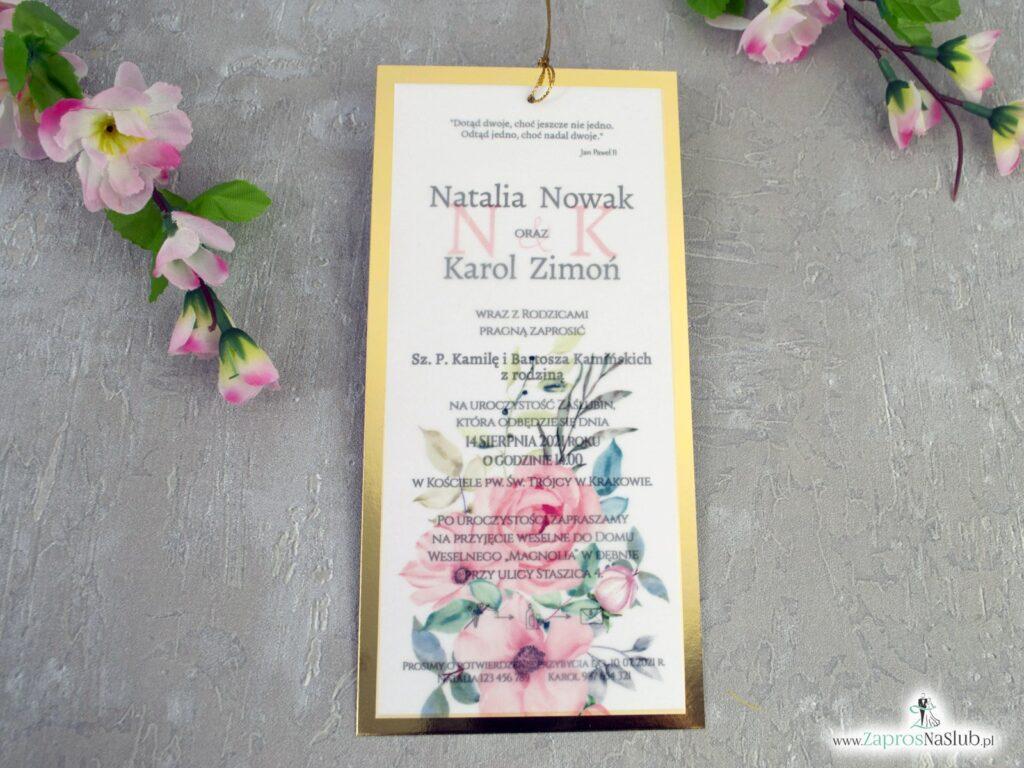 Zaproszenie ślubne z różowymi kwiatami i kalką na złotym papierze z efektem lustra ZAP-138-2