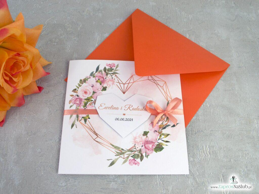 Zaproszenie z herbacianymi kwiatami i geometrycznym sercem ZAP-41-10