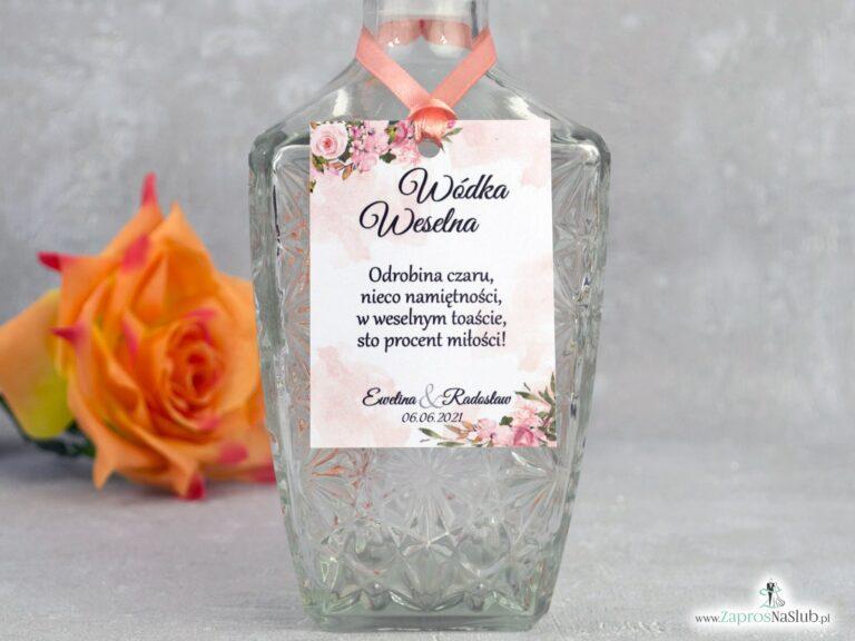 Zawieszka na alkohol z kwiatami w kolorze herbacianym. ZAW-41-10 - ZaprosNaSlub