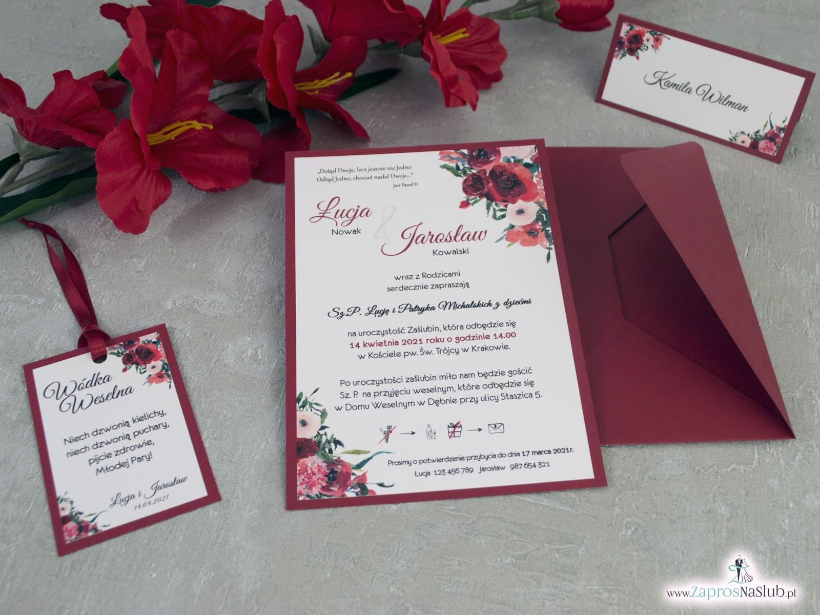Bordowe zaproszenia ślubne z kwiatami ZAP-140