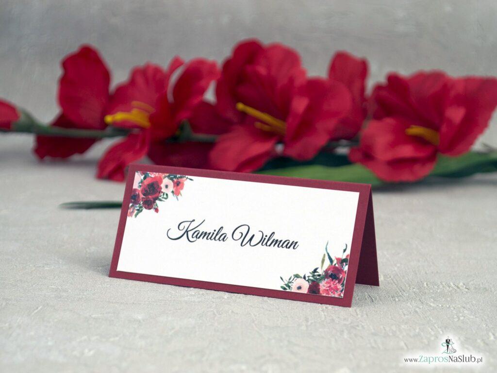 Bordowe winietki z kwiatami WIN-140